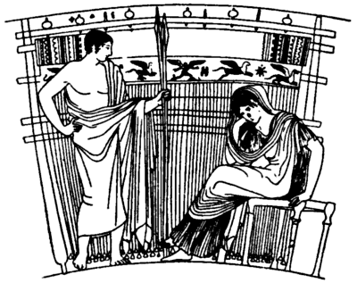 Illustration of Penelope at her loom, on a skyphos from Athens, found in an Etruscan tomb at Chiusi, From: Monumenti d. Inst. Archeologico, IX., pl. xlii.