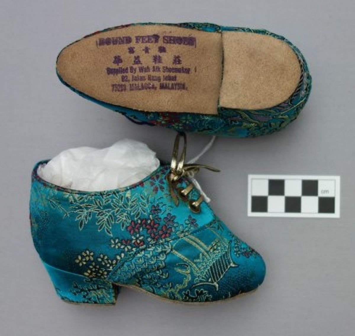 A pair of lotus shoes from Malaysia (late 20th century).