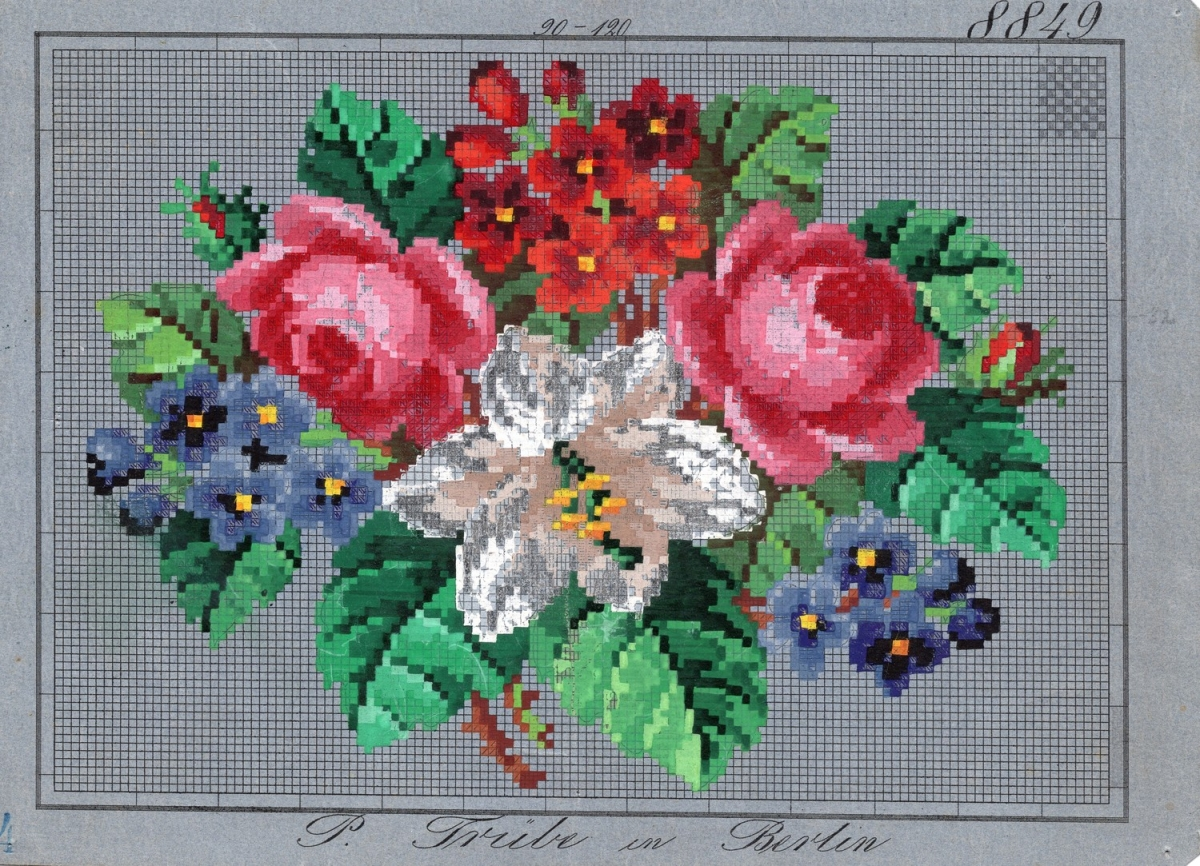 Berlin work chart with a bouquet of flowers ,including roses, lilies, pansies and primroses (Germany, 1840s - 1850s).