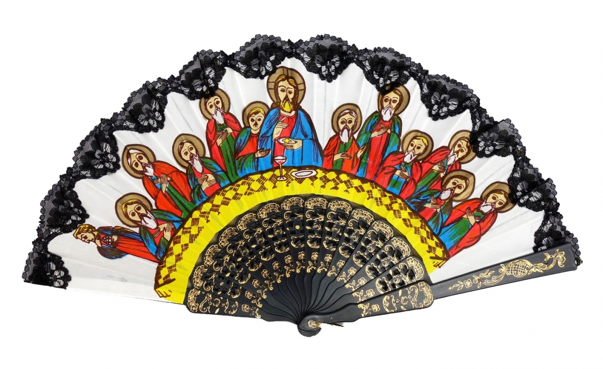 A fan used in the Coptic Church, with representation of the Last Supper (Egypt, 1990s).