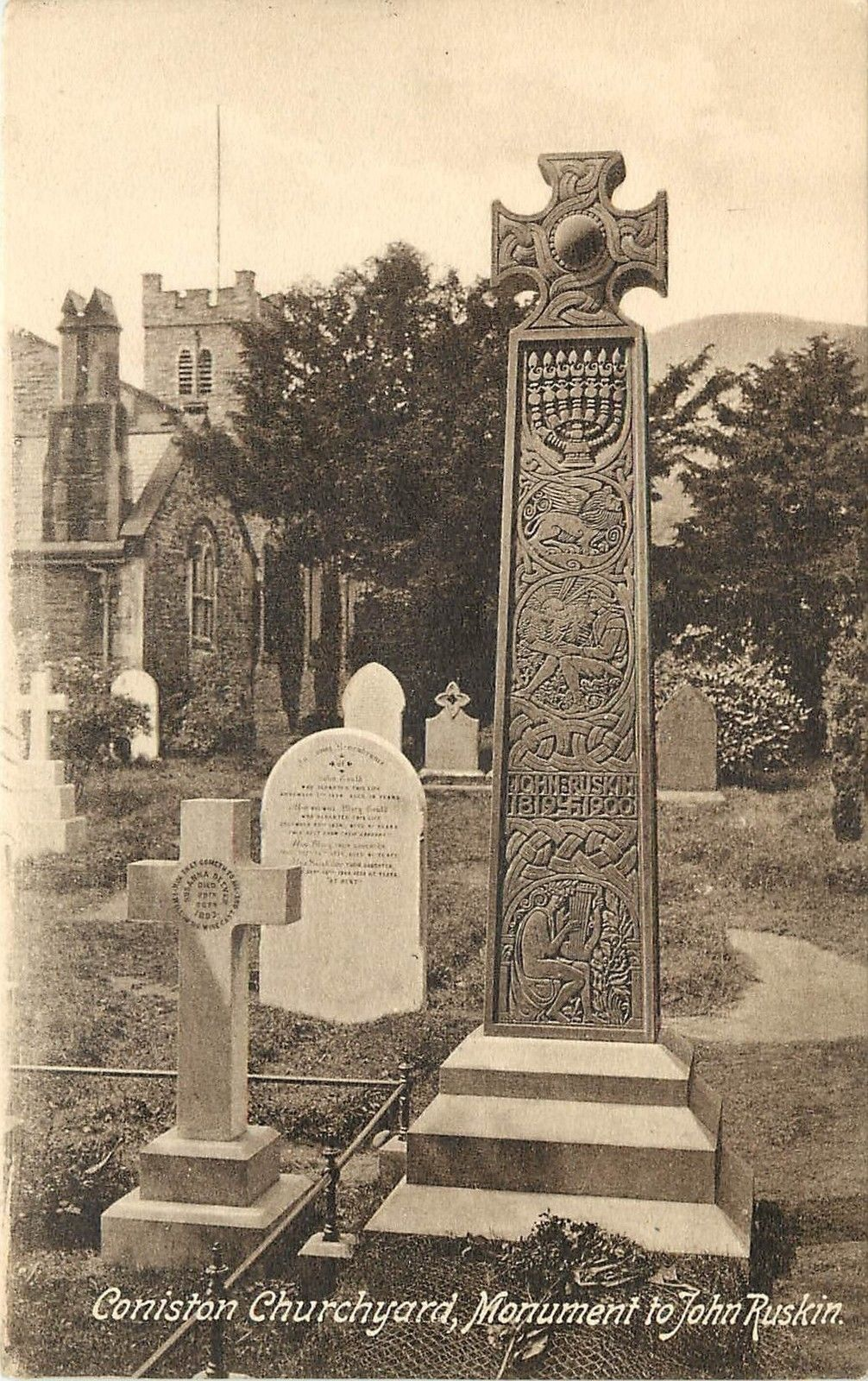 Vintage postage card showing the grave of John Ruskin.