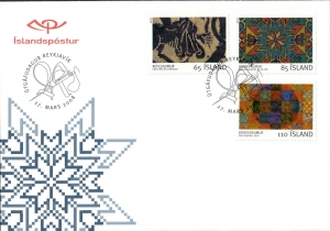 Postage stamps with representations of embroidery. Iceland, first-day cover 2008.