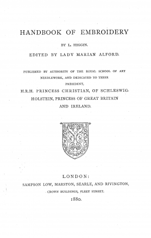 Title pge of Margaret Jourdain's The History of English Secular Embroidery, 1910.