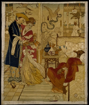 Embroidered picture, with a design taken from Walter Crane's 'Aladdin'. England, made between 1870-1899.