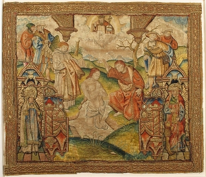 Embroidered picture: Baptism of Christ. The Netherlands, c. AD 1500.