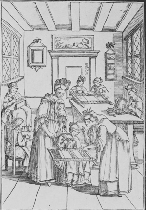 Embroidery lessons, engraving by E. Porzelius, 1689.