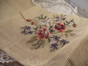 Example of embroidery on an open weave canvas