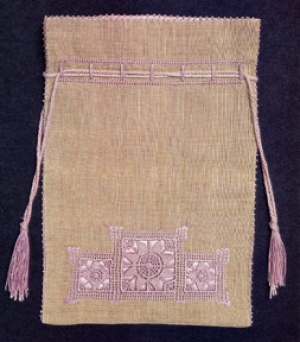 Bag made of Ruskin lace, bought in 1916.
