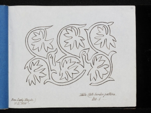 Embroidery design traced by Sarah Bland, c. 1835.