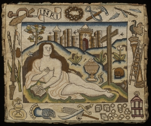 Mary Magdalene, surrounded by instruments of the Passion. Embroidered picture, England, 17th century.