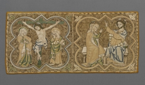 Burse decorated with Opus Anglicanum, early 14th century, Britain.