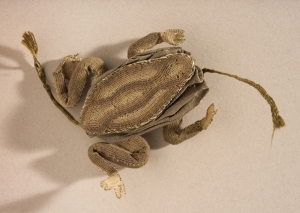 A frog-shaped needlecase from England, early 17th century.