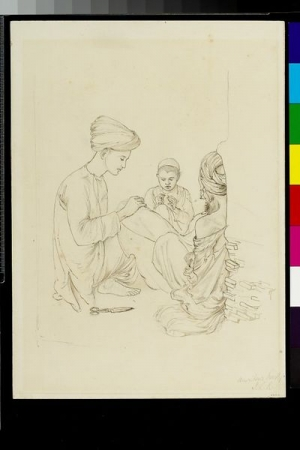 Drawing of shawl embroiderers and piecers in Amritsar, India, by John Lockwood Kipling, c. 1870.