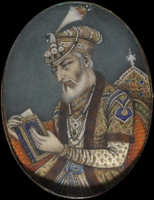The Mughal Emperor Aurangzeb (1618-1707) wearing a turban with aigrette and a turban band. The turban band is decorated with pearls and precious stones.