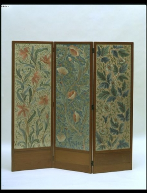 Embroidered screen of Morris & Co., 1885-1910.