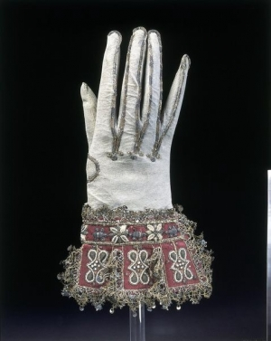 One of a pair of early 17th century gloves from England.