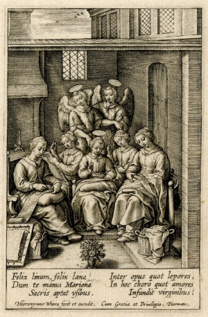 A print depicting the Virgin Mary and friends embroidering (Flemish; early 17th century).