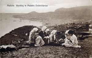 Postcard showing women from Madeira engaged in local embroidery.