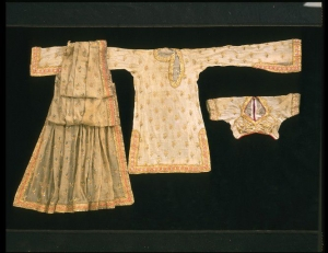 Kurta, choli and odhni (shirt, bodice and veil) from Lahore, Pakistan. c. 1855.