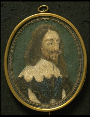 Embroidered picture of Charles I, based on engraving by Wenceslaus Hollar, England, 17th century.