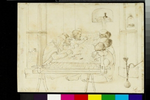 Six men working at an embroidery frame. Drawing made by John Lockwood Kipling, Delhi, c. 1870.