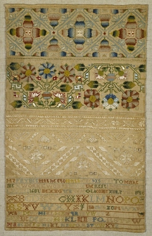 Sampler, silk on linen, dated 1681, Britain.