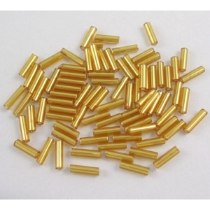 Pale gold silver lined bugle beads.