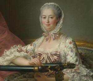 Detail of the painting Madame de Pompadour at her Tambour Frame, c. 1763/1764, by François-Hubert Drouais, 1727-1775