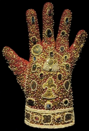One of the Imperial Gloves,  part of the regalia of the Holy Roamn Empire. Probably made in Palermo, prior to AD 1220.