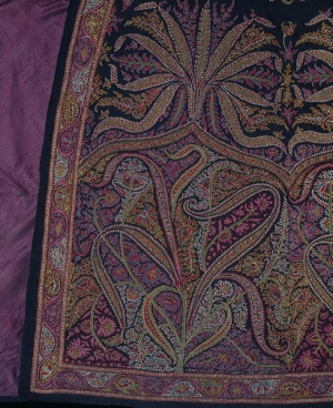 Detail of the Kashmir embroidery of a cloak, late 19th century.