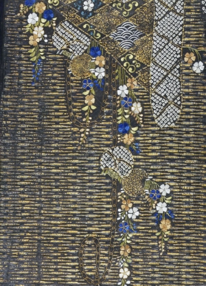 Decorated fragment of a kimono, c. 1600, Japan.