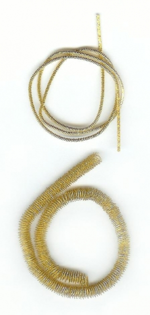 Examples of bullion metal threads.