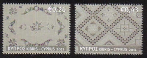 Two stamps from Cyprus showing examples of Lefkara lace.