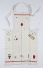 Embroidered apron from Japanese internment camp in Jakarta, Dutch East Indies.