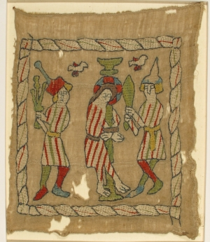 Medieval German embroidered panel with a flagellation scene.