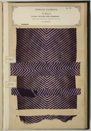 Page with textile sample from the Collections of the Textile Manufactures of India, by Sir John Watson Forbes.