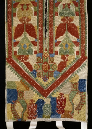 Embroidered bed tent door from the Dodekanesos, modern Greece, 18th century.