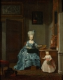 Susanna van Colllen-Mogge and her daughter. Painting by Hermanus Numan, 1776.