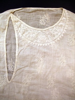 Cotton kurta (jacket) with cotton chikan embroidery under the neck opening. Lucknow, c. 1900