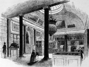 Engraving from 'London', by Charles Knight, showing the India Museum in East India House, Leadenhall Street, in 1843. To the left is Tipu Sultan's men-eating tiger automaton.