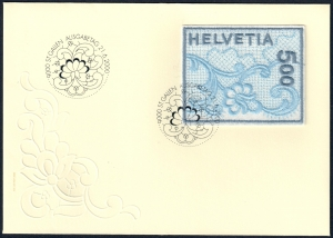 Swiss postage stamp, 2000, machine-made embroidery.