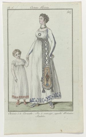 Fashion drawing of a Lady carrying a decorated balantine handbag, late eighteenth century.