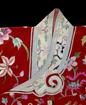 Satin weave jacket from early 20th century China.