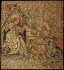 Embroidered picture: The Annunciation. The Netherlands, c. AD 1450.