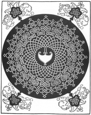 A woodcut design for a knotwork embroidery pattern by Durer (pre-1521).