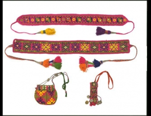 Embroidered utensils from Chitral, North Pakistan, before 1938.
