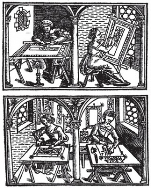 Page with woodcut from the 1527 version of 'Il Burato', by Alessandro Paganino.