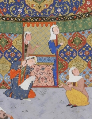 Fragment of a Persian miniature  showing a woman embroidering, 16th century,  Iran?