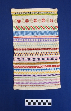 Example of a stitch sampler ('stekenlap'), The Netherlands, 1960s.