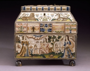 Casket embroidered by Martha Edlin in c. 1671, England.